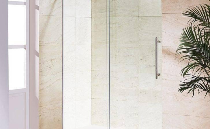 Frameless Sliding Shower Door Stainless Steel Clear Glass