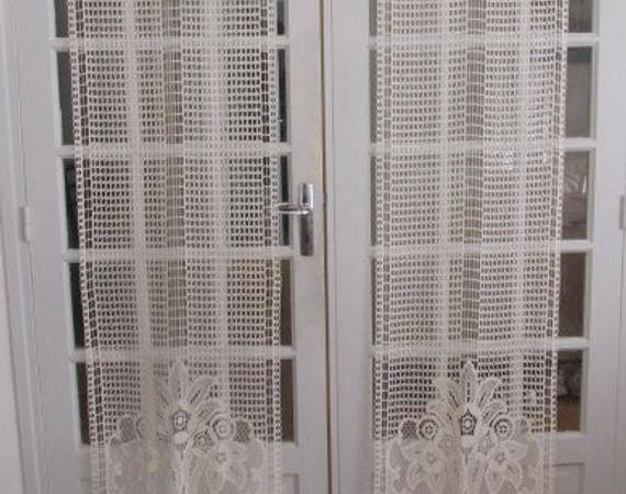French Door Panels Cotton Lace Curtains Ivory