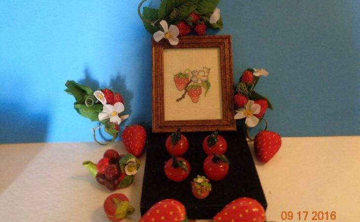 Fruit Themed Kitchen Accessories Napkin Rings Magnets Framed Stiching
