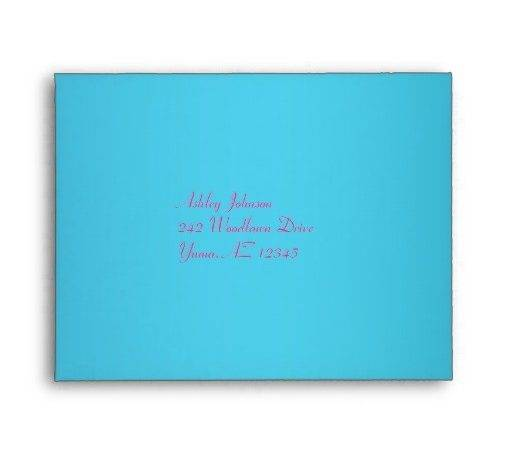Fuchsia Turquoise Envelope Reply Card Zazzle