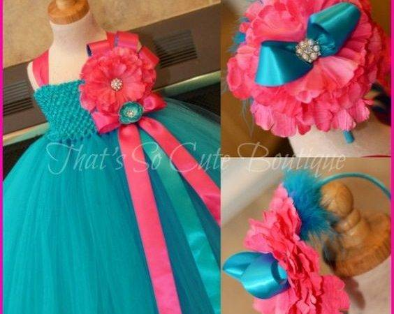 Fuchsia Tutu Turquoise Flower Dress Blue