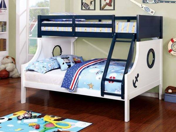 Furniture America Admiral Ship Blue White Twin Over Bunk Bed