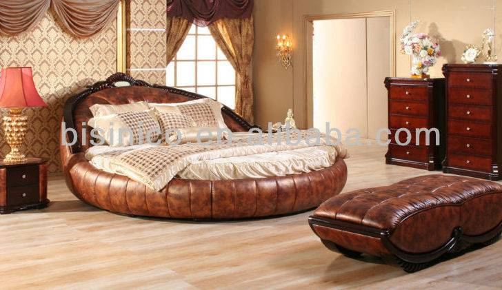 Furniture Bedroom Sets Double Round Bed Luxury Genuine Leather Set
