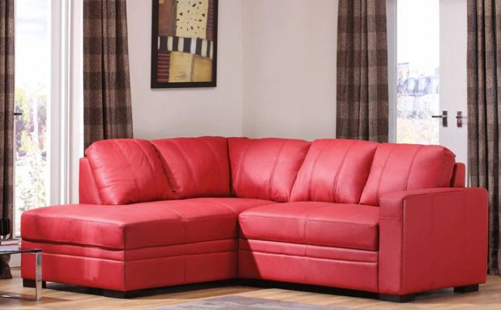 Furniture Bright Red Sofa White Walls