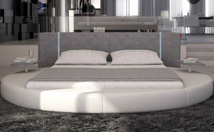 Furniture Contemporary Bedroom Mateo Round Bed Led Lighting