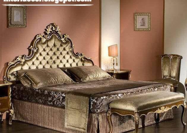 Furniture Design Golden Italian Bed Luxury Classic Bedroom