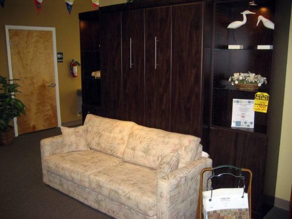 Furniture Grey Wooden Murphy Bed Sofa Having Wardrobe