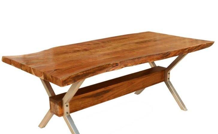 Furniture Hankin Rustic Solid Wood Iron Live Edge Dining Table