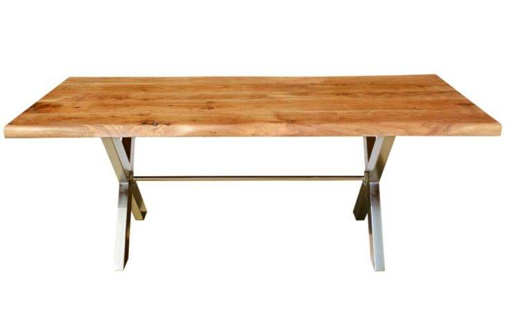 Furniture Industrial Cross Legs Solid Wood Live Edge Dining Table