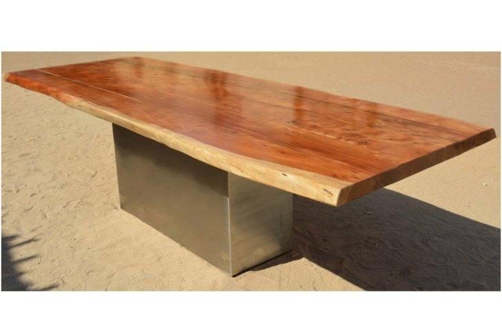 Furniture Live Edge Large Dining Table Acacia Wood Block Pedestal