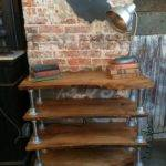 Furniture Living Room Bookcases Reclaimed Live Edge Bookcase