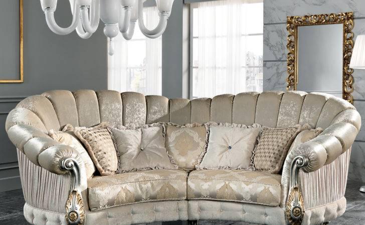 Furniture Luxury Sofas Italian Designer Four Seater Curved Sofa