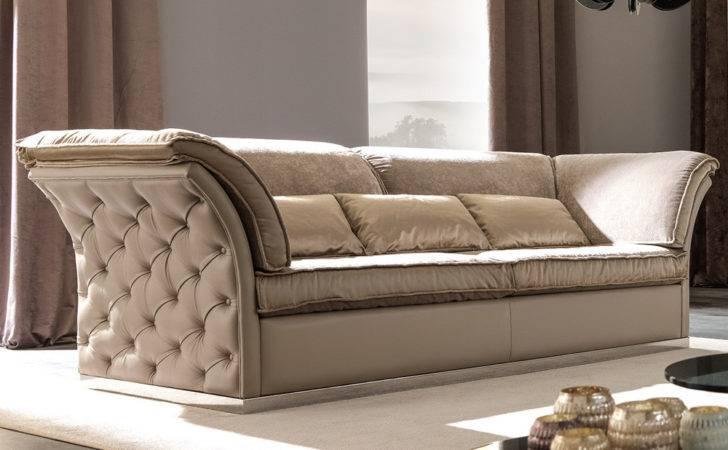Furniture Luxury Sofas Italian Designer Leather Button Upholstered