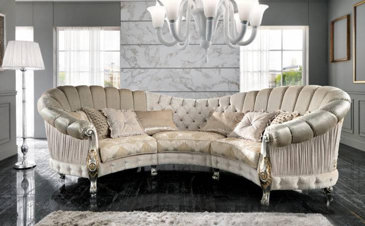 Furniture Luxury Sofas Italian Designer Six Seater Curved Sofa