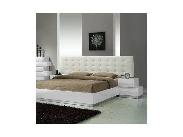 Furniture Milan Piece Platform Bedroom Set White Lacquer