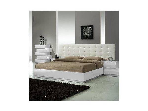 Furniture Milan Platform Bed White Lacquer King