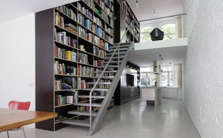 Furniture Modern Home Library Design Featuring Large Open Storage Wall
