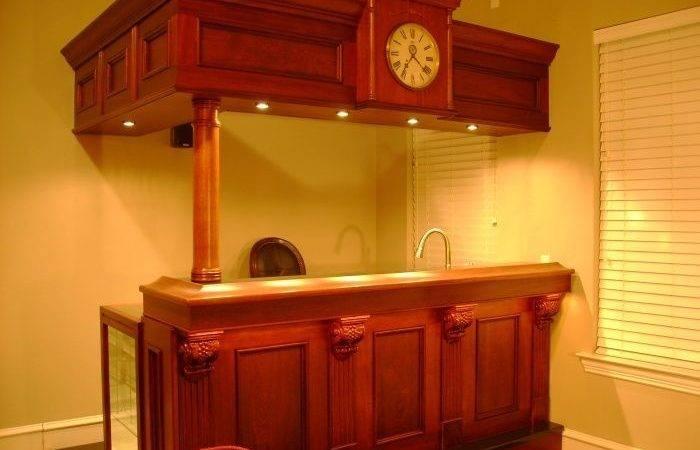 Furniture Surprising Bar Counter Made Wood Along Faucet