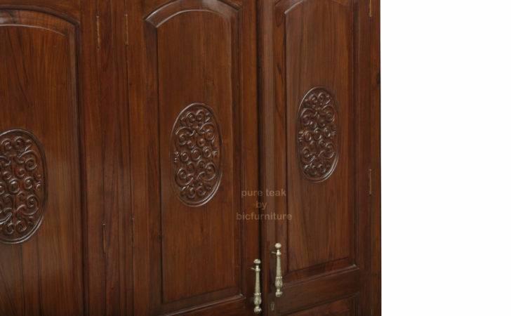 Furniture Wardrobes Teakwood Wardrobe Carving Design