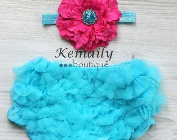 Fuschia Flower Satin Headband Turquoise Matching Ruffle Bloomers