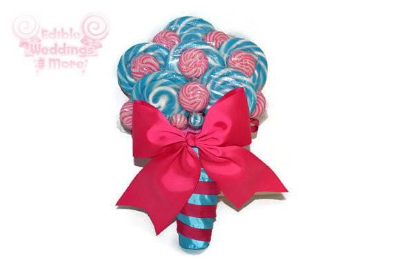 Fuschia Turquoise Lollipop Bridal Bouquet Candy Wedding