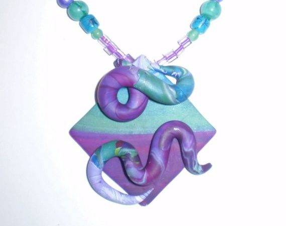 Fuschia Turquoise Teal Polymer Clay Necklace Earrings Set