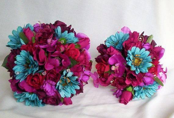 Fuschia Turquoise Wedding Flowers Teal Pinter