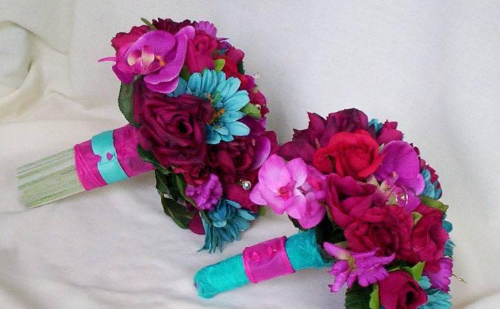 Fuschia Wedding Flower Package Malibu Turquoise Custom