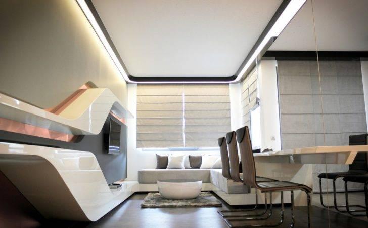 Futuristic Design Feature Gray Wall Scheme Drop Out Curve