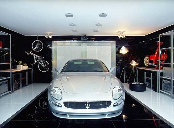 Garage Interior Design Ideas Black White Marble Floor