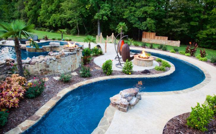 Garden Patio Backyard Lazy River Pool Design Stone Liner