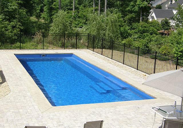 Garden Swimming Pool White Stony Floor Black Fence