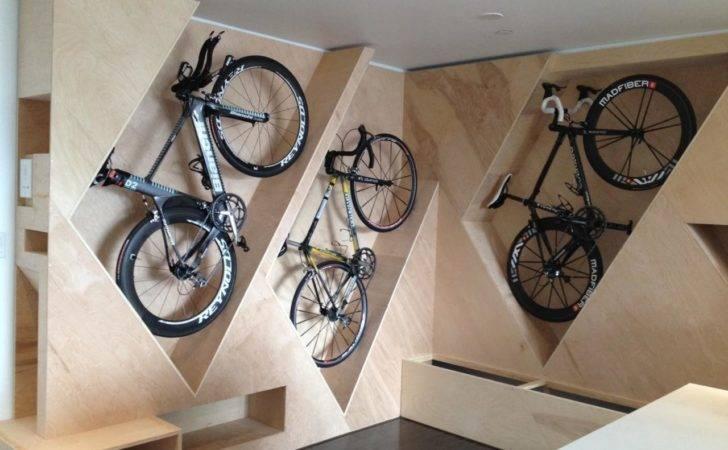 Geometric Wooden Shelves Creative Bicycle Storage Ideas