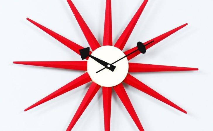 George Nelson Red Sunburst Wall Clock Clocks