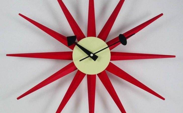 George Nelson Sunburst Clock Red Modern Wall