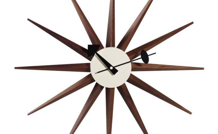George Nelson Sunburst Clock Walnut Wazo Furniture