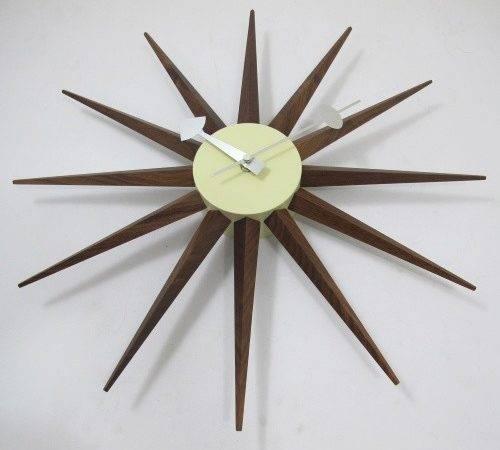 George Nelson Walnut Wood Sunburst Wall Clock Clocks