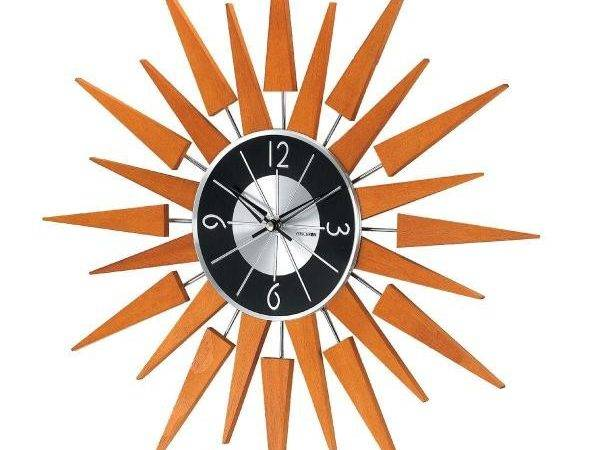 George Nelson Wooden Sunburst Clock Natural Wood