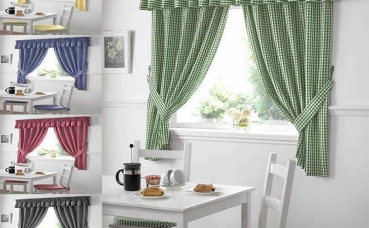 Gingham Check Kitchen Curtains Ready Made Pairs