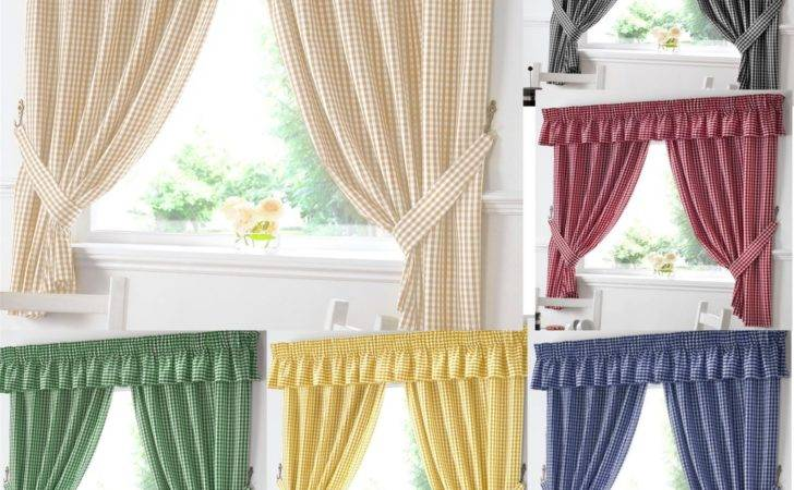 Gingham Kitchen Window Curtains Matching Pelmet