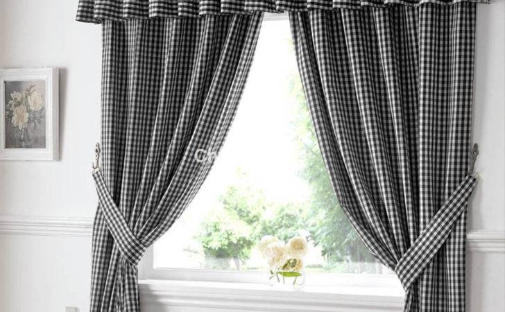 Gingham Pelmet Black Chiltern Mills