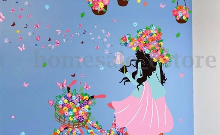 Girl Flower Removable Wall Art Sticker Vinyl Decal Room Home Mural