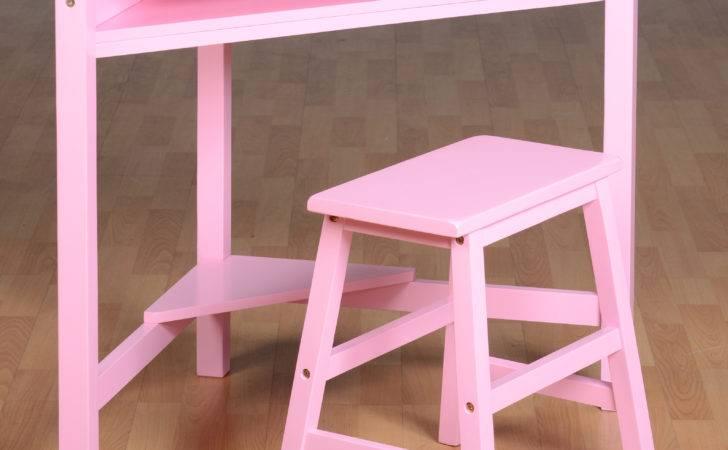 Girls Corner Desk Stool Wood Computer Workstation Kids Chair