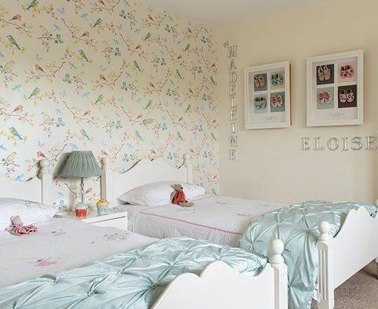 Girls Twin Bedroom Bird Children Room Decorating