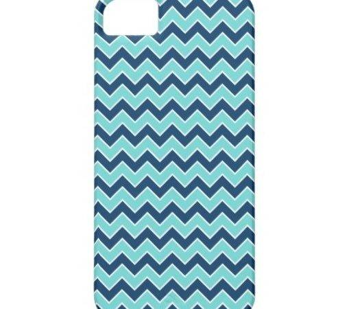 Girly Teal Navy Chevron Zigzag Stripes