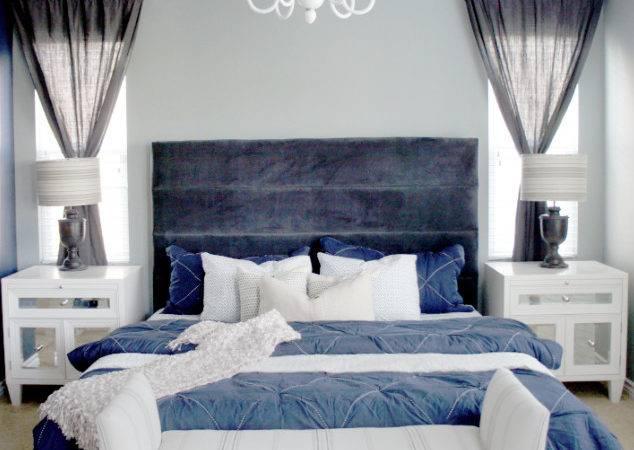 Gives Bedroom Tranquil Elegant Feel While Blue Bedding