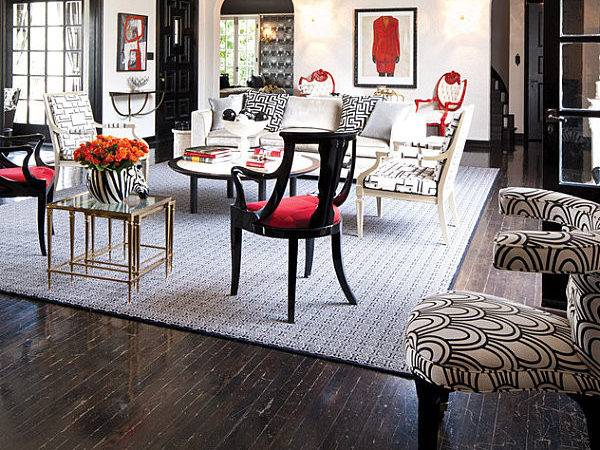 Glamorous Black Red White Living Room Decorate Shades