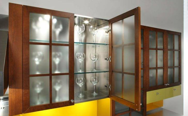 Glass Cabinet Doors Inside Frosted Kitchen