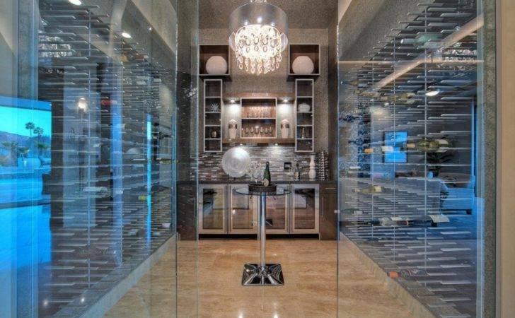Glass Encloses Wine Cellar Fridges Stact Racks Tasting