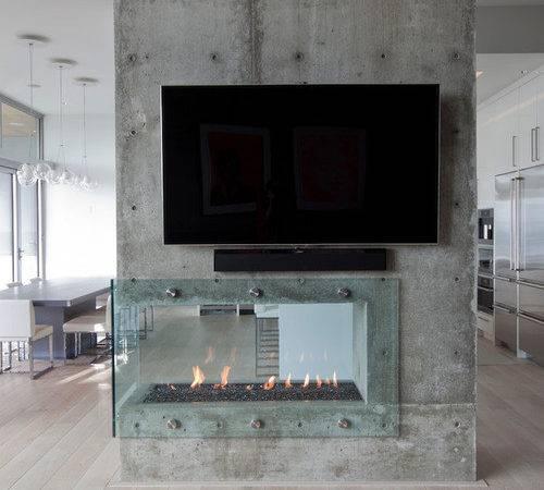 Glass Fireplace Home Design Ideas Remodel Decor